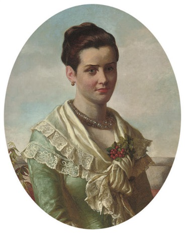 portrait of a young lady, in a blue dress and a white lace shawl decorated with berries by william maw egley
