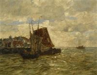 fischerboote am kai einer holländischen hafenstadt by andreas dirks