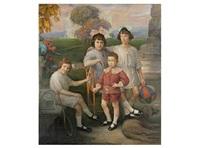 niños en un jardin by marceliano santamaria y sedano