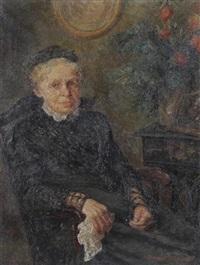 bildnis einer sitzenden älteren dame mit häubchen by gertrud jungnickel