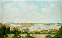 stockholmspanorama med människor - utsikt från mosebacke by axel otto morner