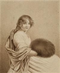 sitzende dame mit einem muff by louis pierre denant