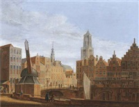 the stadhuisbrug, utrecht, with house lichtenberch and house hasenberch on the left, the oudegracht on the right by pieter jan van liender