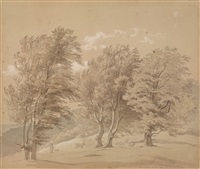 bewaldete landschaft mit hirten by georg heinrich crola