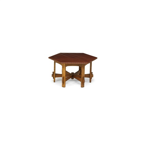 Perfect Hexagonal Leather Top Game Table By L.u0026 J.g. Stickley