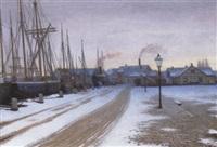 havneparti med dampskib ved kajen en vinterdag by valdemar albertsen