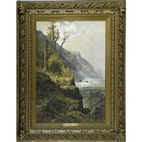 crashing waves in mountainous landscape by carl weber