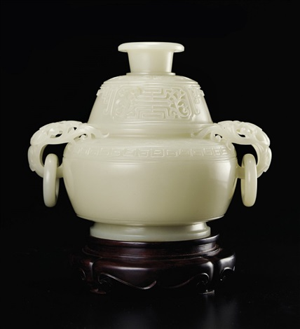 瞿利军(b.1970)白玉万寿纹簋式炉