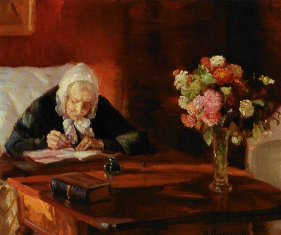 Kunstnerinden anna anchers mor ane hedvig brøndum siddende ved sit ...