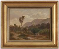 paysage aux canards et paysage aux vaches (pair) by adrien rené lobry-visbach