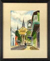 french quarter street scenes (4 works) by william charles collins