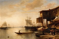 a busy market scene at istanbul harbour by jacob jacobs