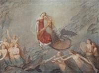 neptun med kvinde omgivet af musicerende havfruer by axel viggo wormer
