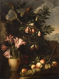 vase with lilys and fruit branches before a landscape by felice boselli