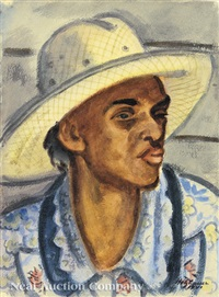 portrait of a black woman in a hat by emil eugen holzhauer