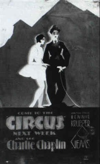 movie poster painting for the film circus starring charlie chaplin by nat karson