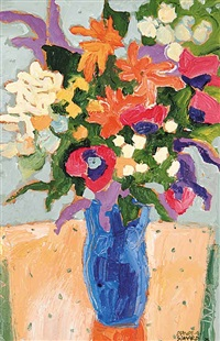 bouquet with zinnias by claude a. simard