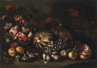 two still lifes with fruit and flowers (2 works) by tommaso realfonso