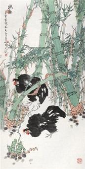 幽趣 立轴 设色纸本 by cui ruzhuo