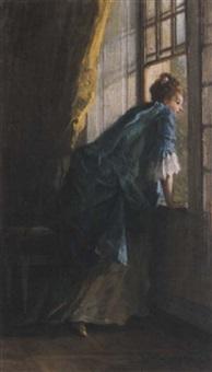 femme à la fenêtre by louise-emilie leleux-girard