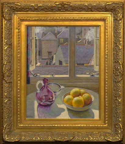 still life with lemons rooftops beyond by m m e richey
