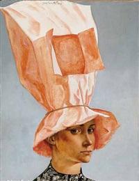 portrait of a woman in an orange hat by jean-pierre alaux