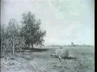 heuernte unter weissblauem himmel im vorgebirge, in der   linken bildhalfte baumgruppe. by otto paul seltzer