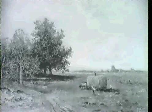 heuernte unter weissblauem himmel im vorgebirge in der linken bildhalfte baumgruppe by otto paul seltzer