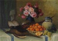 stilleben mit rosenstrauß, früchten und fasanen by f. von der glas