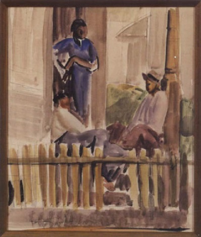 figures on porch by conrad alfred albrizio