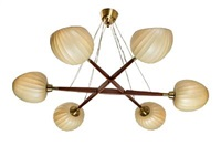 six arm star shaped chandelier, canopy and mountings shades by hans bergström