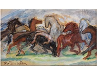 pferdegruppe mit einem nackten, auf den rücken eines rappen gebundenen knaben by hans von faber du faur