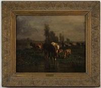 paysanne et animaux à l'étang by andré cortes