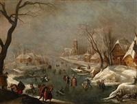 winterlandschaft mit zugefrorenem kanal und schlittschuhläufern by adam van breen