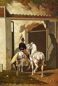 en rytter med to hvide heste by louis eugène ginain