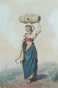 contadina carrying water barrel by domenico de angelis