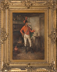 a soldier standing by a kitchen fire by edward percy moran