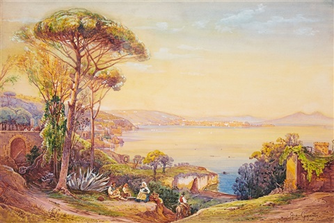 view of the bay of naples by giacinto gigante