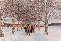 allén - soligt vinterlandskap med hästekipage by anders altzar