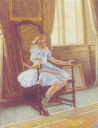 interior med pige i blå kjole by poul corona