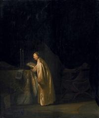 zacharias, den namen seines sohnes johannes schreibend by jan lievens