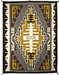 pictorial geometric rug by betty bailey