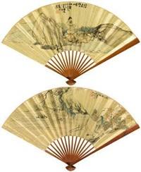 孤山探梅·溪岸独酌 (recto-verso) by tan qi and ren yi