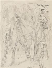 esquisse pour la cueillette des cerises by rené (victor) auberjonois