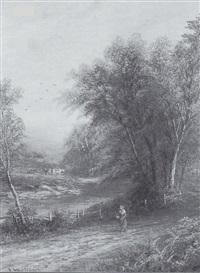 figure on a woodland path by joseph mellor