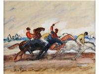 jockey-reiter bei einem rennen by hans von faber du faur