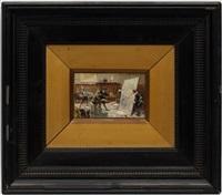 la rencontre des seigneurs and l'atelier du peintre (2 works) by giuseppe cassioli