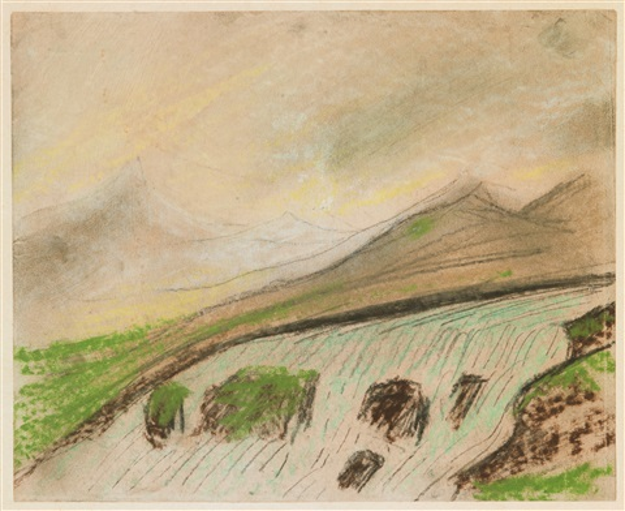 älvlandskap med berg by carl fredrik hill
