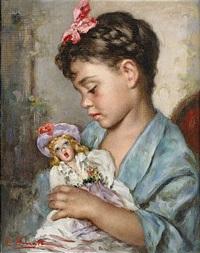 flicka med docka by luigi amato