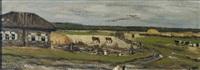 blick auf kleines gehöft mit pferden in koppel und weidenden kühen by leonard (leonid) viktorovich turzhansky